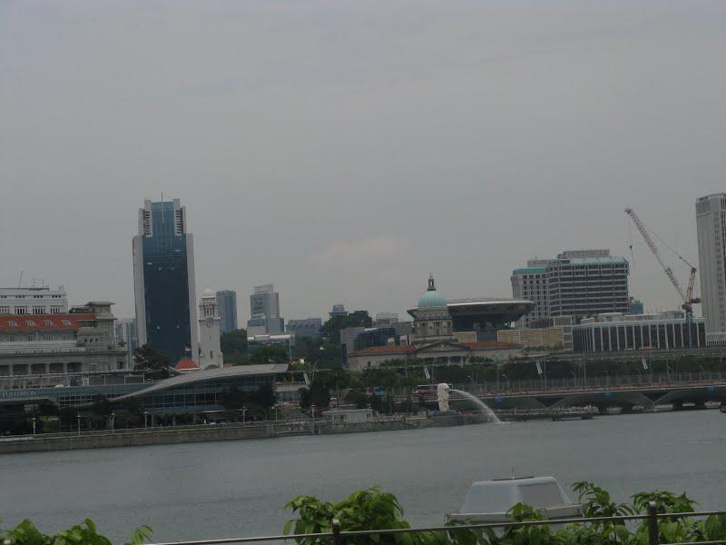 Building around the Marina Bay Area, Parliament, Harbor Lion Fountain - Singapore