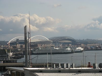 Boats and cruise ships - with the Safeco field in the distance