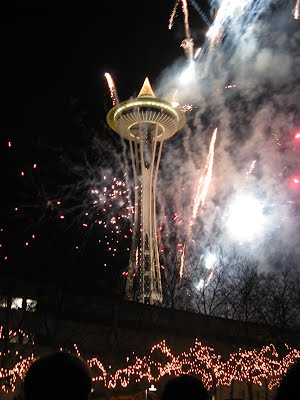 Space Needle and fireworks around it