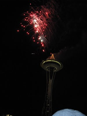 Space Needle and Fireworks - New Year's Eve 2008