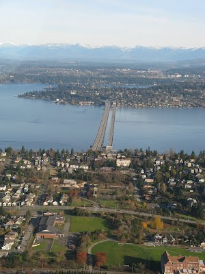 I-90 Bridge which connects the Eastside and Westside of Seattle