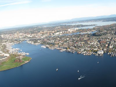 Blue waters around Seattle - from a seaplane