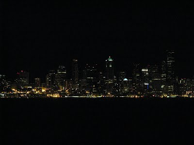 Night time Seattle Skypline : Seattle from a cruise ship - clicked from Elliot Bay