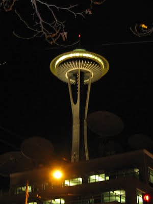 Space Needle at Night - Seattle Downtown