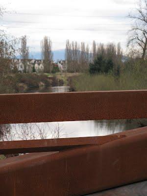 Crossing a bridge along the trail