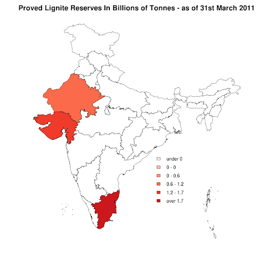 India - Proved Lignite Reserves - 31st March 2011