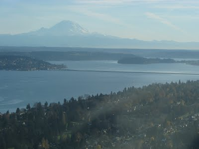 Rainier, Lake Washington and the 520 bridge
